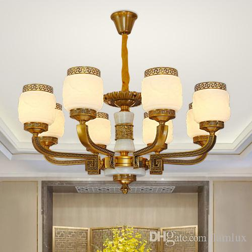 New modern Chinese style led chandelier lights lanterns zinc alloy marble decorative led chandeliers lamps pendant light for living room