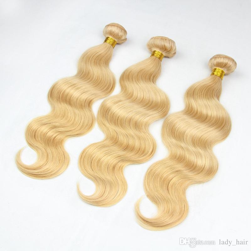 9A # 27 Miel Blonde Vierge Malaisienne Tisse de Cheveux Humains 3 Pcs Vague de Corps Ondulés Malaisienne Blonde Fraise Blond Vierge de Cheveux Humains Bundles