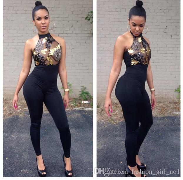 European And American Style Women Sexy nude back piece Jumpsuits Fashion Empty sequins hanging neck tight pants
