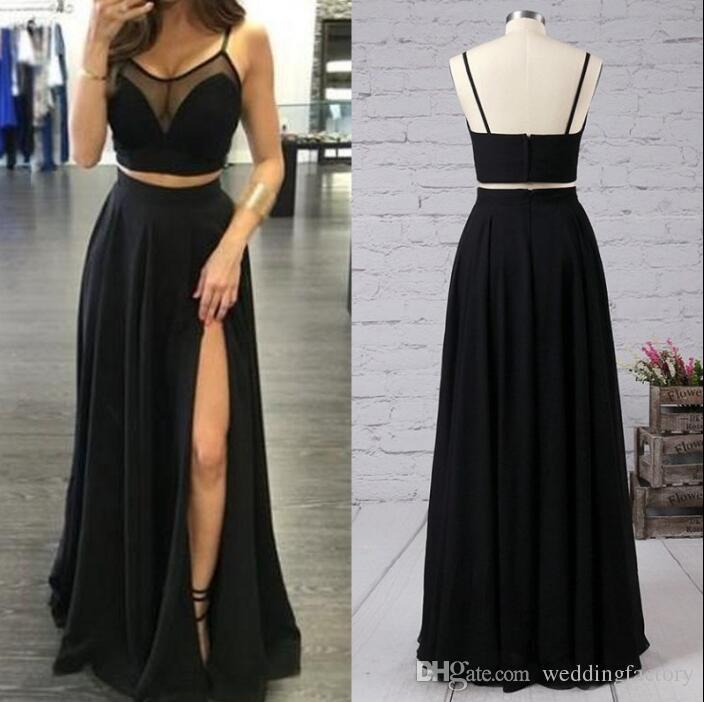 2019 sexiga två stycken prom klänning spaghetti remsor ren nacke svart chiffong långa formella kvällsfestklänningar med hög splitgolv längd