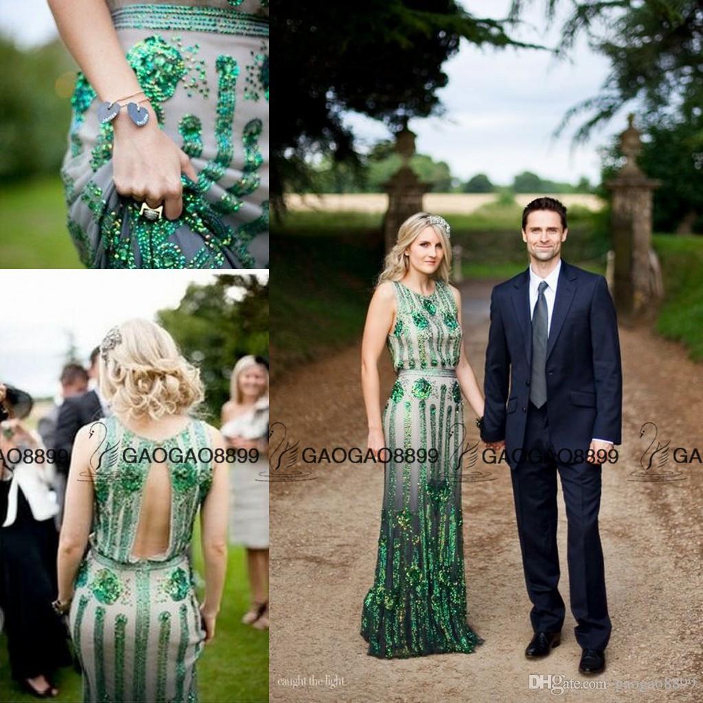 The Great Gatsby Jenny Packham Emerald Jewelery Sparkly Mermaid country boho Wedding Dresses Crew Full length Trumpet Wedding Gown