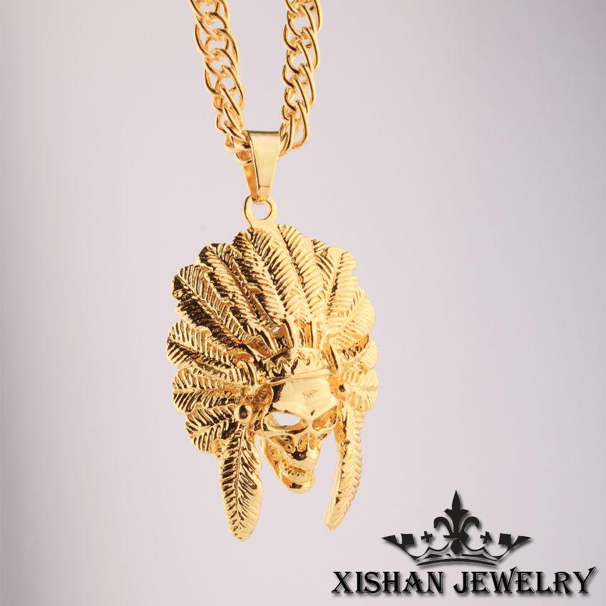 Wholesale hip hop jewelry necklace men american indian chief head hip hop jewelry necklace men american indian chief head 24k gold plated pendant necklace 31 aloadofball Images