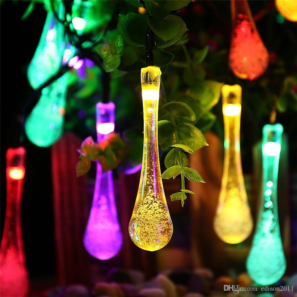 Edison2011 Raindrop 20LED Solar Powered Outdoor Waterproof String Light Colorful Blue Pink Warm white White Garder Patio Party Christmas