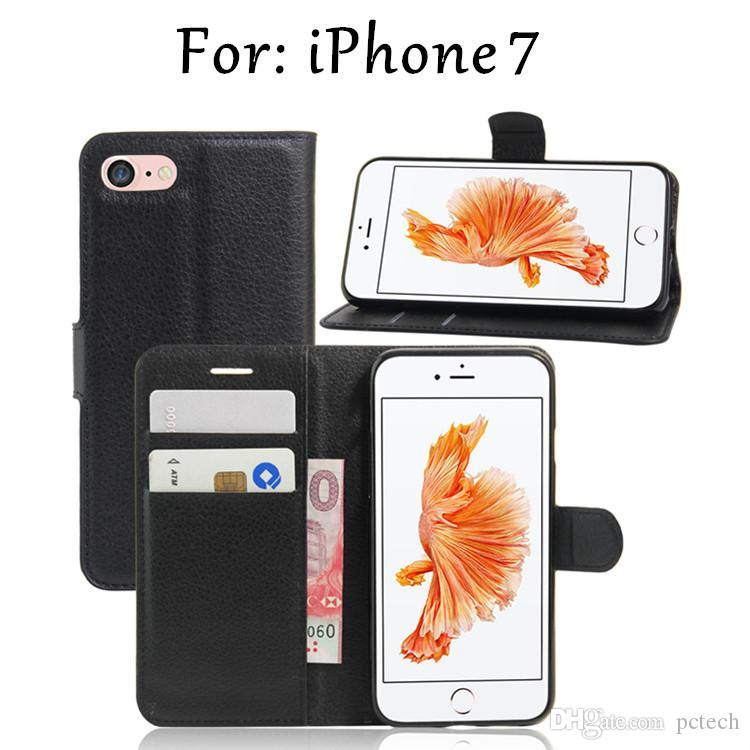 Wallet Leather Cell Phones Cases for Iphone 7 Plus I7 goophone I6s I6 plus Iphone 5 5s with kickstand 8 color choice