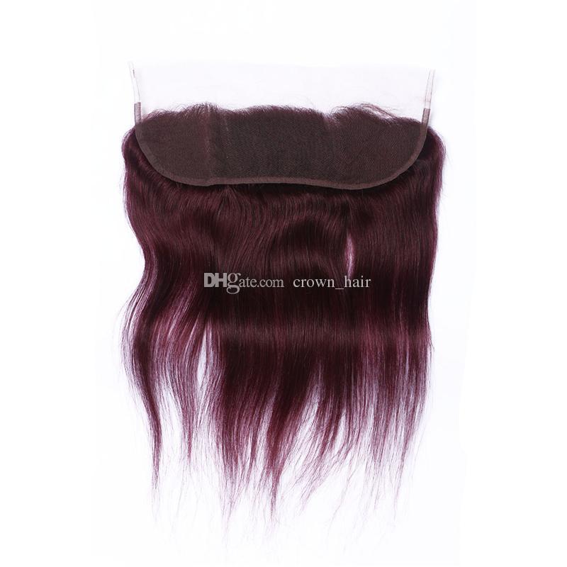 새로운 도착 순수한 색상 # 99j 와인 레드 스트레이트 13 * 4 레이스 정면 클로저 아기 머리 부르고뉴 인간의 머리 레이스 Frontals와 매듭을 표백