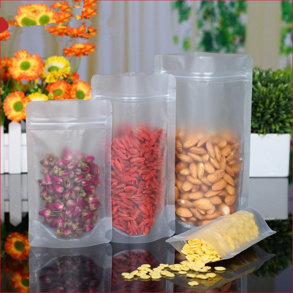 3.5 '' x 5.0 '' (9x13 cm) Zip Kilit Buzlu Yüzey Şeffaf Plastik Ambalaj Gıda Aperatif Depolama Kilitli Doypack Çantası için Kese