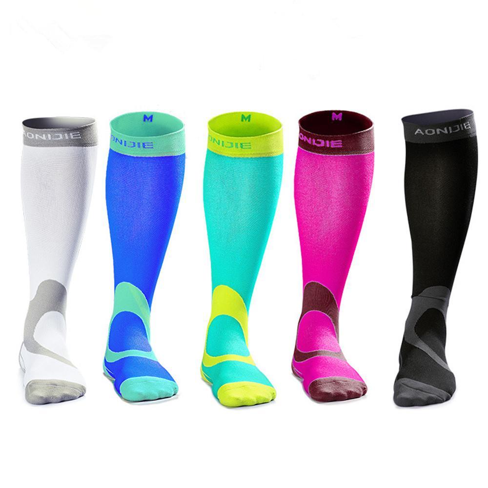 AONIJIE Outdoor Sport Knee High Socks Donna / Uomo Calcio Sport Running Calze a compressione Gambaletto Gamba elasticizzata Calze