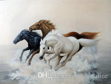 Framed Wild Horses Mustangs Running White Black Chestnut,Handpainted Modern Abstract Animal Wall Art Oil Painting On Canvas Multi Sizes Jn83