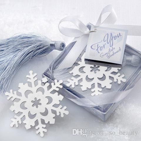 10pcs Fiocco di neve Segnalibro Segnalibro Studente Confezione regalo Bomboniere Orso Segnalibri Festa di Natale