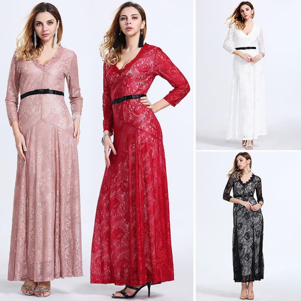 봄 가을 여성 드레스 V - 목 긴팔 바느질 레이스 맥시 드레스 패션 블랙 인쇄 긴 드레스 Vestidos