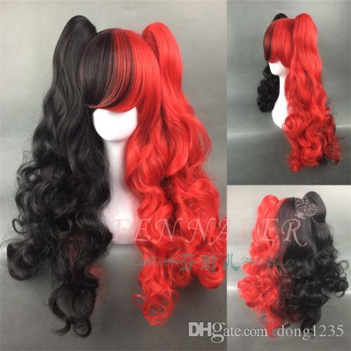 Spedizione gratuita wigsFree ship Harley Quinn Parrucca sintetica nera lunga parrucca capelli lunghi ondulati nero 2 Coda di cavallo