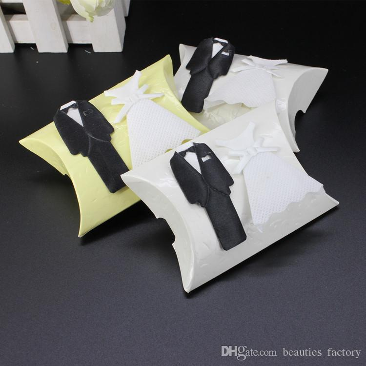 100pcs Pillow Candy Box with Bride and Groom Wedding Party Favor Boxes Christmas Gift Boxes New