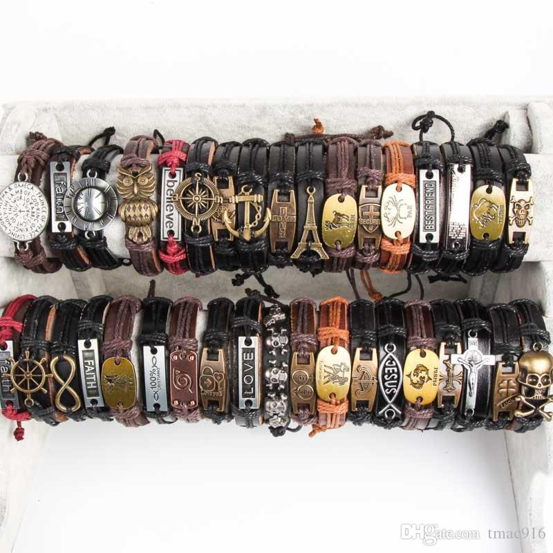 Band New Vintage Metal Leather Mens Womens Surfer Bracelet Cuff Wristband lots Mixed Style Alloy pendant Retro Jewelry Charm Bracelet