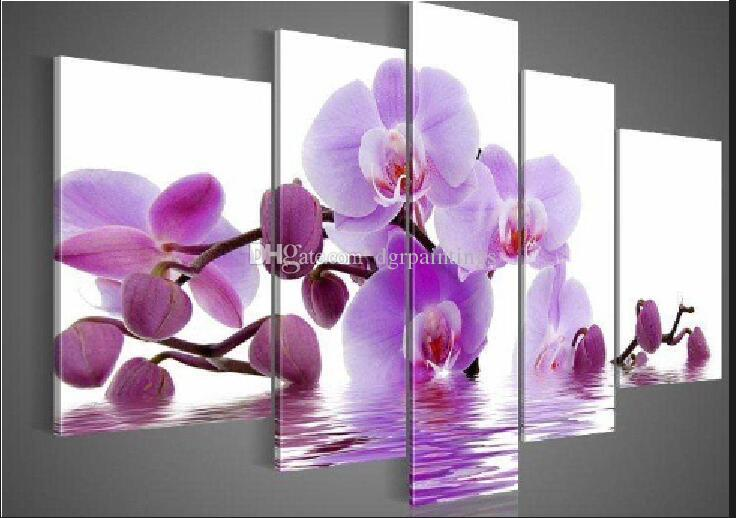 100% Hand-painted High Quality Huge Beautiful Flower Oil Painting on Canvas Home Wall Decor Art Modern Abstract Paintings 5pcs/set B88