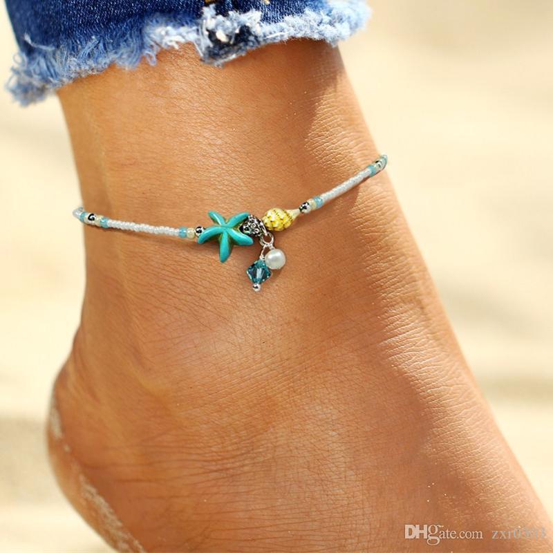 Bohemia шарик Shell ножной браслет для женщин ног ювелирные изделия женщины лодыжки ноги ювелирные изделия летний пляж заявление цепи ножные браслеты ювелирные изделия