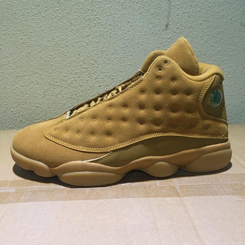 Weizen 13 Herren Basketball Schuhe Turnschuhe Gum Brown Gold Tan 13 S High Top Trainer