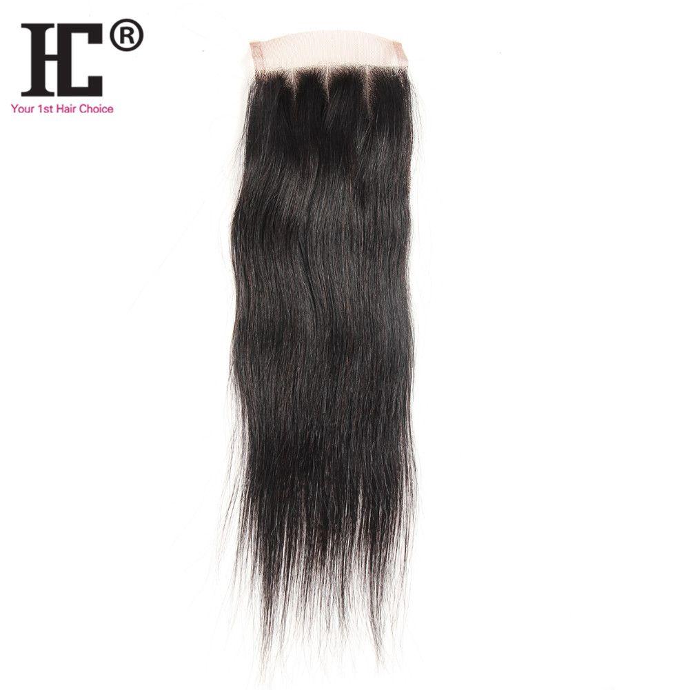 "HC hair Lace Closure 100% Unprocessed Virgin Human Hair Brazilian Silky Straight Closure Pieces Weave 8""-20""(4*4) Human Hair Top Closures"
