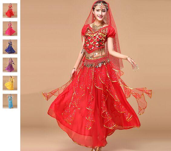 2018 Costumi da ballo di Bollywood 5 pezzi (parte superiore + gonna + catena in vita + velo + copricapo) Costume di danza del ventre Abiti indiani Gonna di danza del ventre