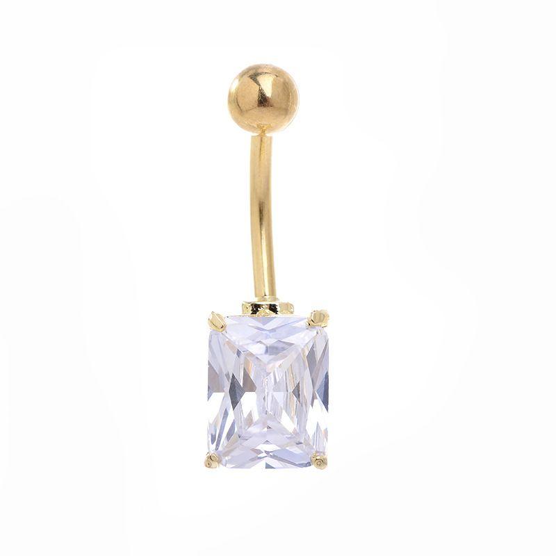 مطلية بالذهب المضادة للحساسية مربع السرة دبوس جديد ثقب الجسم مجوهرات الزركون