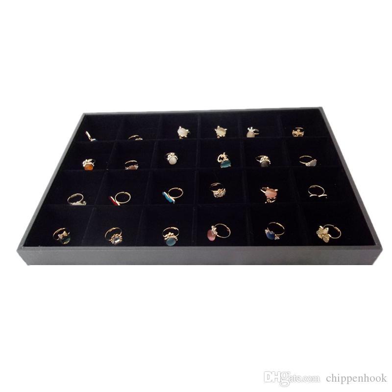 أسود المخملية والمجوهرات عرض صينية معرض 35 * 24 * 3 سم لحامل الطوق أقراط الخرز التخزين المنظم مع 24 حزام