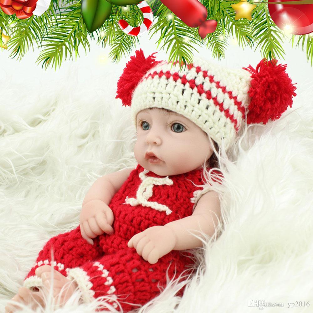 28cm Mini Rewborn baby dolls Lifelike Baby Doll Full Silicone Body vinyl Cute Fake Knitting Cloth baby