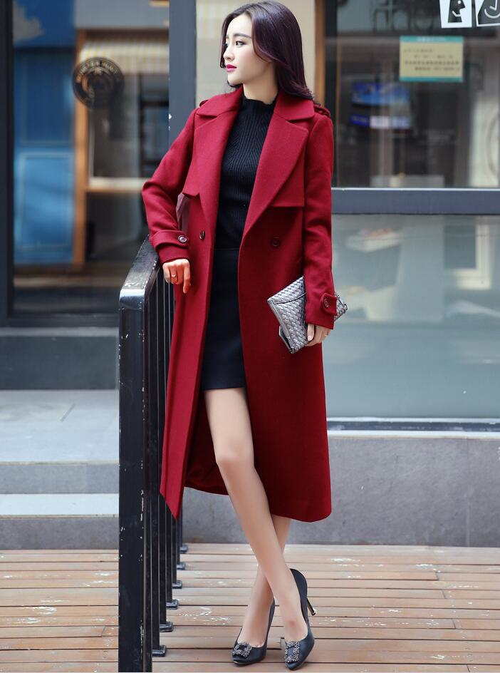 Famous 2018 Red Trench Coat Womens Jacket Cheap Clothing Long Plus Size  UW84