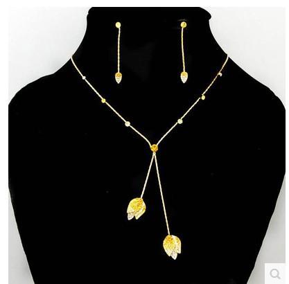 boucles d'oreilles collier de fleurs en cristal jaune (Ming)