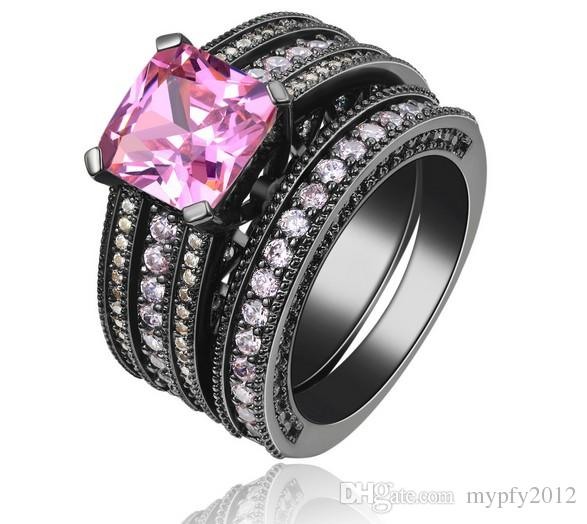 women wedding ring set zirconia diamond fashion black gold filled gift jewelry finger ring sets jewellery - Black Gold Wedding Ring Sets