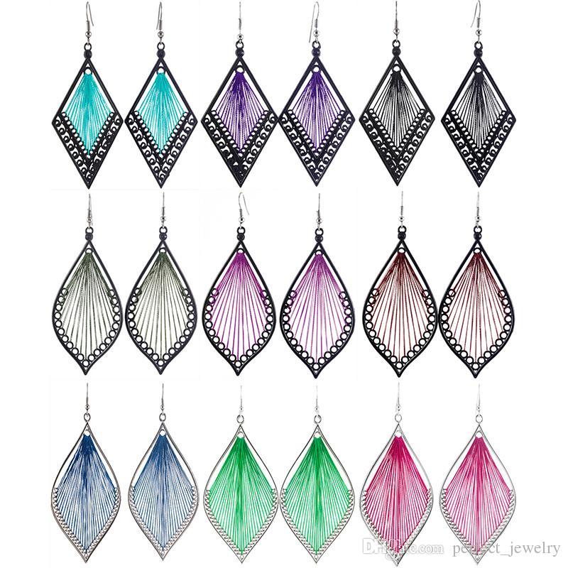 Thread Earrings Mix 82 Styles Rhombus Leaf Wholesale Lots Cute Hook Dangle Handcraft Women Girls Eardrop ( Red Yellow Purple Green )(JT020)