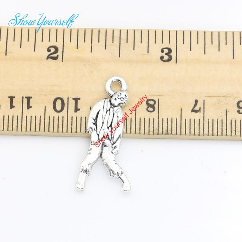 20pcs/lot Antique Silver Plated Walking Dead Zombie Charms Pendants for Necklace Jewelry Making DIY Handmade Craft 17x6mm