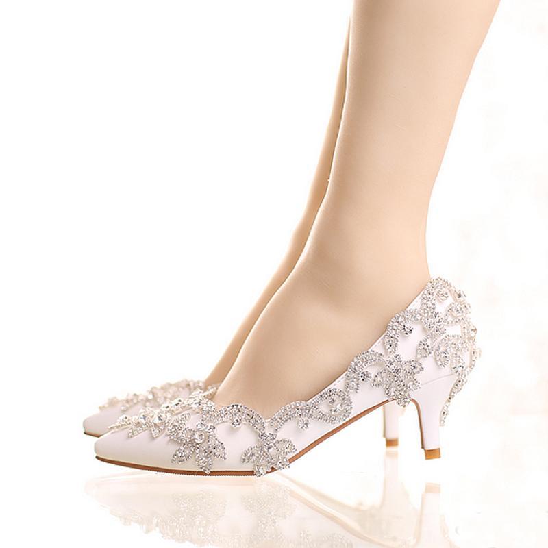 Silver Shoes Kitten Heel Wedding