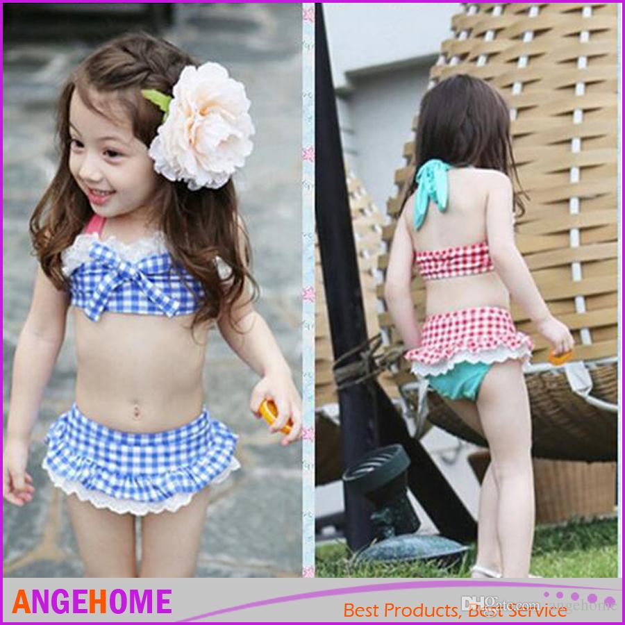 2016 Childs Bikini Straps Plaid Printed Beach Clothing 3Pcs Set With Hat Beach Clothes with cap Kids hot springs swimsuit Bathing Suits