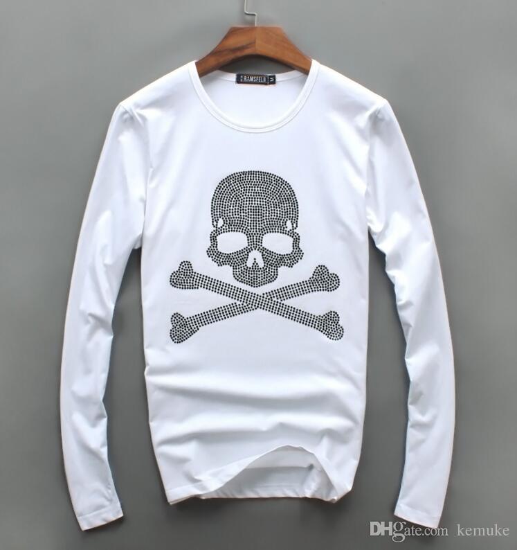Großhandel Männer Luxus Diamant Design Langarm Mode T-Shirts Männer lustige T-Shirts Marke Baumwolle Tops und Tees oi