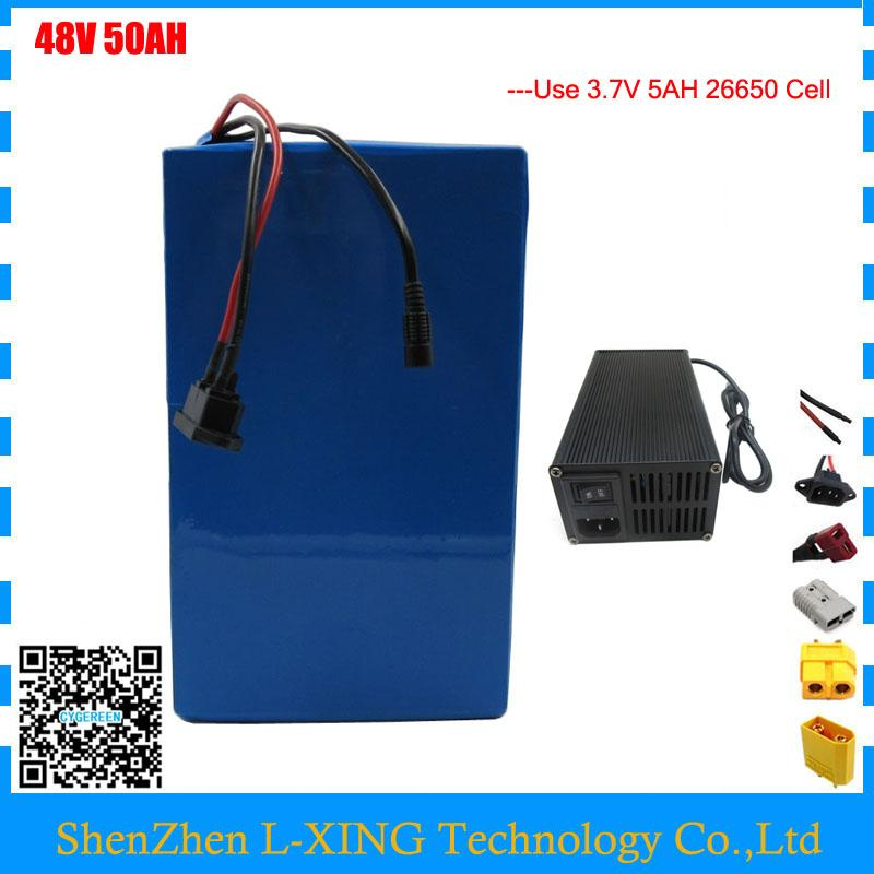 48V 2000W Super Capacitor Lithium Storage Ebike Battery 48V Voltage 50ah  For Scooter UPS Solar Storage 4A Charger Battery Terminals Cell Phone  Battery