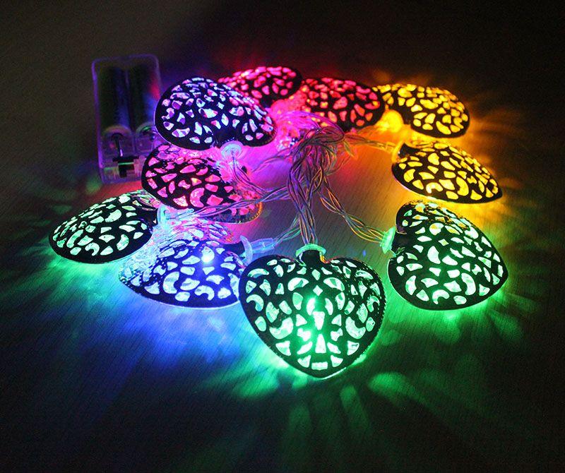 10pc lotto multi colore a batteria metallo palla LED stringhe metallo cuore RGB albero di natale luci fata per la decorazione