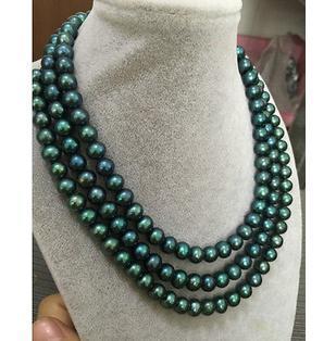 Commercio all'ingrosso triple fili 9-10mm tahitian verde pavone collana di perle 18 pollici 19 pollici 20 pollici 14 k oro fermaglio