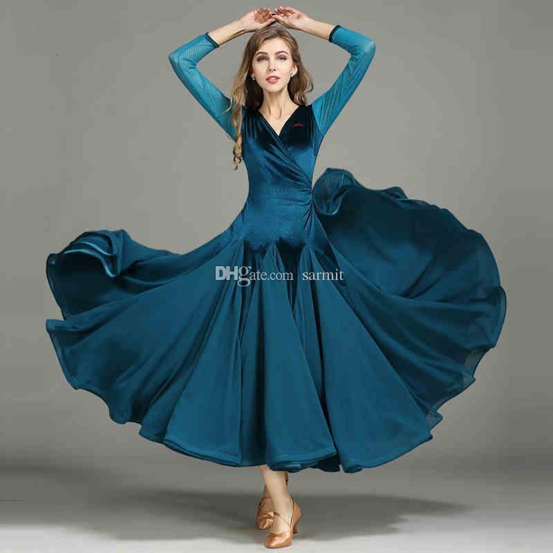 Terciopelo salón de baile vestidos de Competencia de baile estándar estándar del vestido vestidos de baile vals D0163 3 opciones mangas de malla
