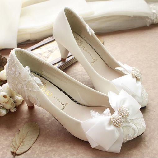 Scarpe Sposa Incinta.Acquista Scarpe Da Sposa Di Perle Bianche Scarpe Con Tacco Alto