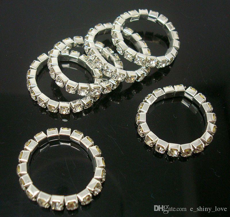 10PCS 유행 지우기 Rhinestones 여자를위한 1 개의 줄 신축성이있는 반지 숙녀 여아 유행 보석 1 개의 순서