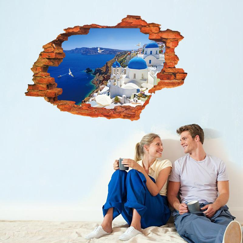Hermosa Santorini Mar Egeo cielo azul 3D vista de la ventana etiqueta de la pared agujero Paisaje paisaje decoración para el hogar de la casa nueva casa Mural