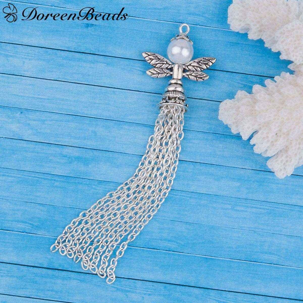 Colgantes del ala del ángel del guardián Perla de acrílico blanco plateado plata de la borla antigua 86mm x 23mm, 1 PC 2016 nueva joyería libre del envío makin