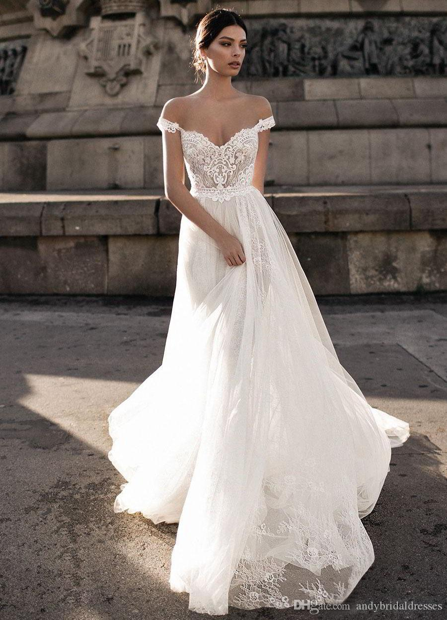 Discount Gali Karten 2019 Sheer Bohemian Wedding Dresses Off The Shoulder Lace Tulle Sweep Train Backless Bridal Gowns For Sale Wedding Collection