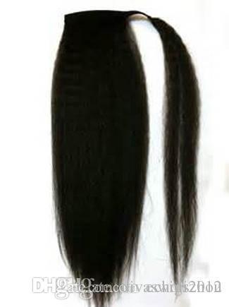 Яки прямые волосы Реми конский хвост для чернокожих женщин афро хвосты шиньоны шнурок обернуть вокруг конского хвоста наращивание волос 120 г 1b цвет