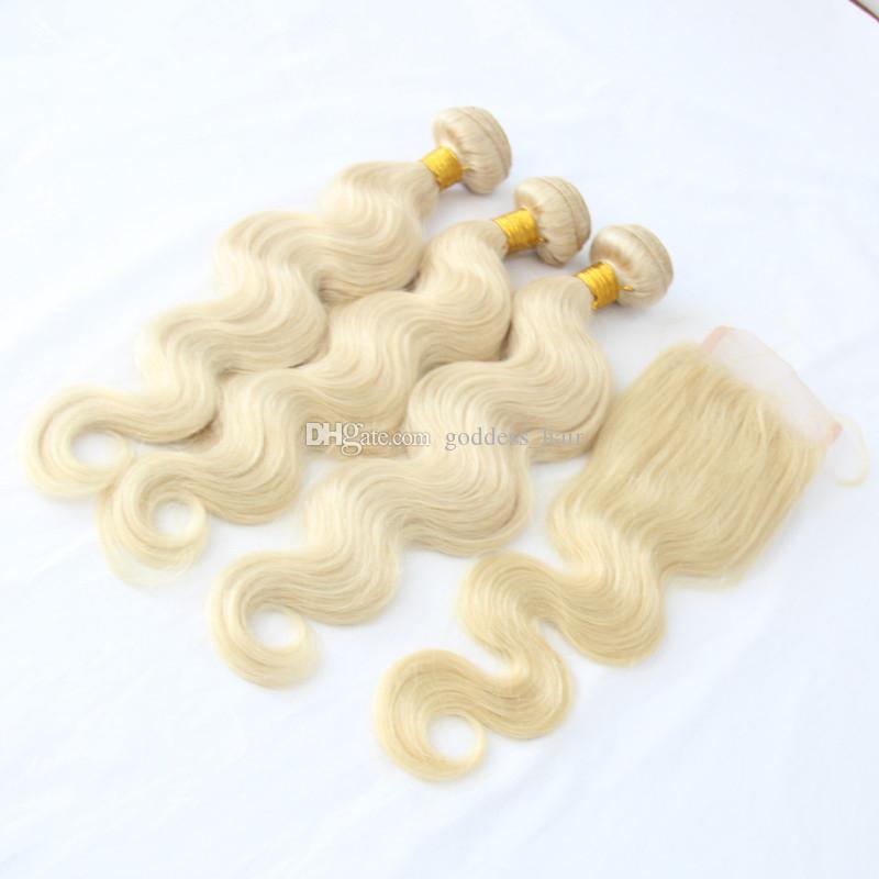 9A Grado 3 Bundles Cabello con parte libre 4 * 4inch Cierre de encaje Color 613 # Rubio ruso Extensiones de ondas de cabello humano