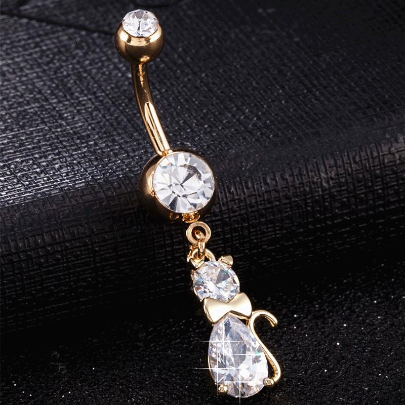 Precioso gato colgante ombligo piercing ombligo anillos Ombligo cubic zirconia color oro acero inoxidable cuerpo joyería CC0361