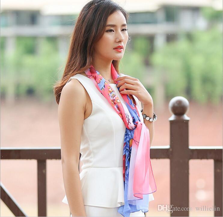 2017 جديد الكورية فراشة الشيفون فتاة يرتدي وشاح الحرير مع مكيف الهواء
