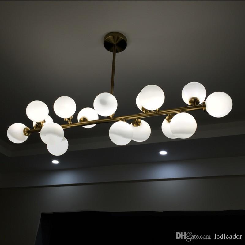 L12-Gold/Black Magic Bean Pendant Lamp DNA Numerator Glass Ball Chandelier Lighting G4 Led Bulbs for Dining Living Room Bedroom