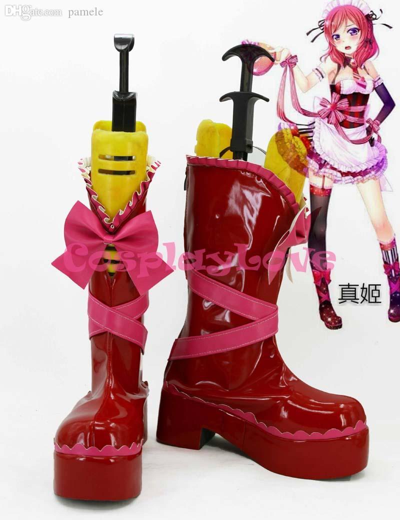 일본 애니메이션 Lovelive 제작 도매 최신 사용자 정의! 할로윈을위한 발렌타인 데이 로리타 메이드 Nishikino 마키 코스프레 신발 부츠