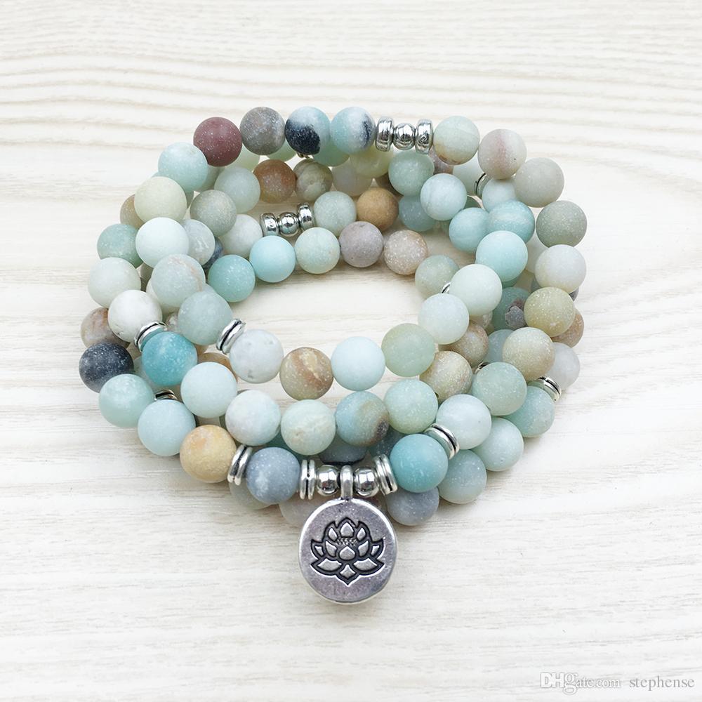 SN1142 8 mm Mode femme Matte A-mazonite 108 Bracelet Perles Mala ou Collier Lotus Bouddha Ohm Charm Bracelet Livraison gratuite