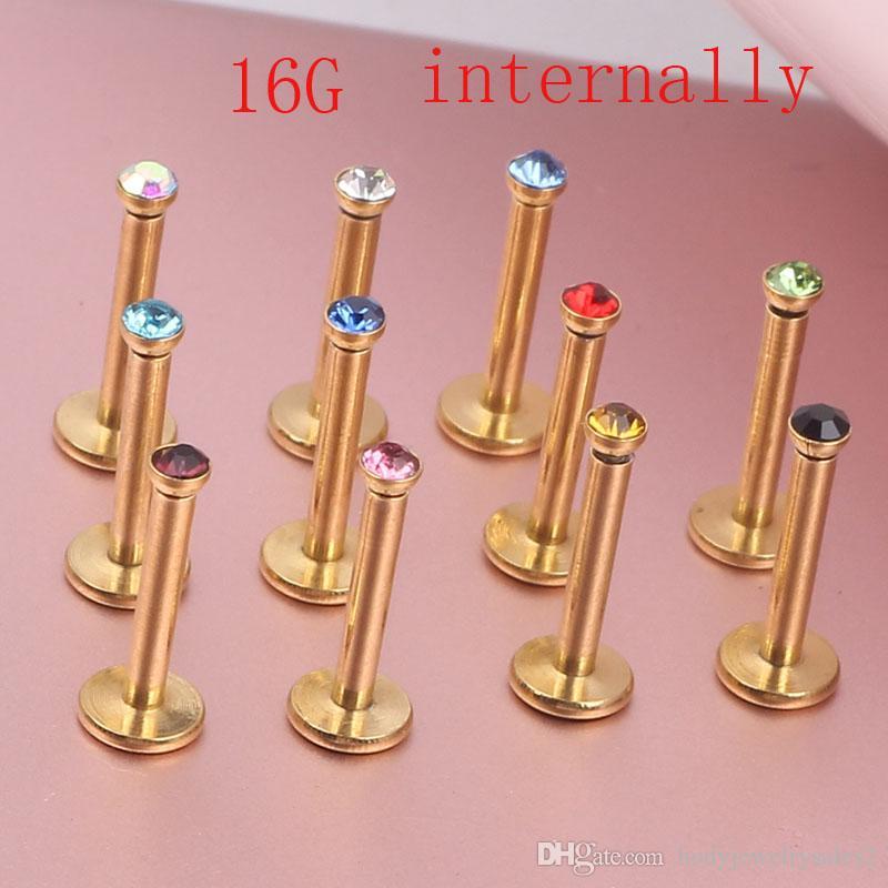 الذهب داخليا خاتم labret الشفاه ثقب كريستال جوهرة ستون الأزياء هيئة المجوهرات 316l الفولاذ المقاوم للصدأ 16G 8MM بار ثقب